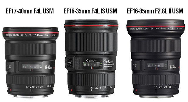 「EF16-35mm F4L IS USM」「EF17-40mm F4L USM」「EF16-35mm F2.8L II USM」比較