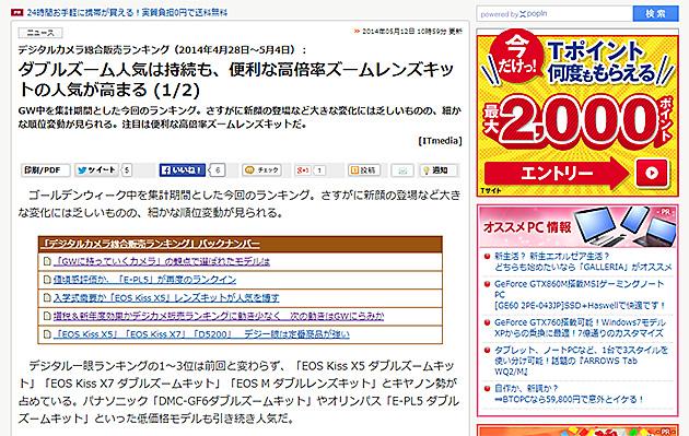 デジカメ販売ランキング(4月28日~5月4日)