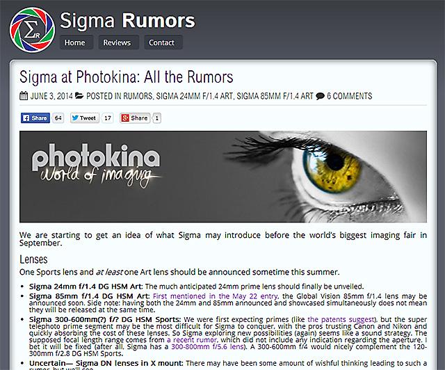 SIGMAがフォトキナで「Art 24mm F1.4」と「Art 85mm F1.4 DG HSM」を発表