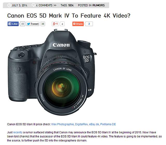 「5D Mark IV」4K動画撮影対応!?