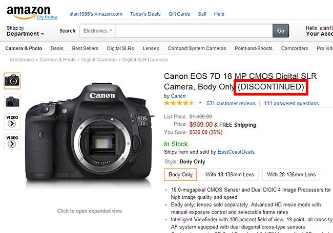 Amazon.comで7Dがディスコン!7D Mark II の発表は近い!?