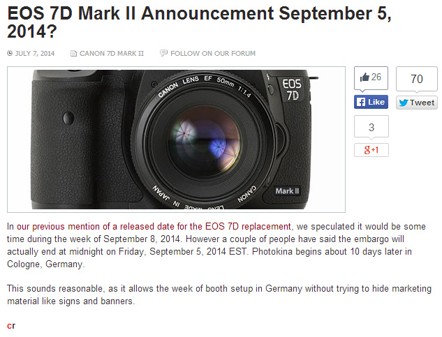 7D Mark II 9月5日発表!?