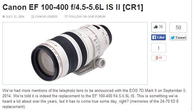 EF100-400 F4.5-5.6L IS II スペック情報!?