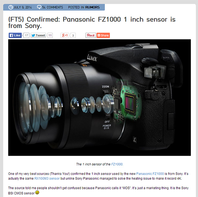 FZ1000はRX100M3と同じソニー製1インチセンサー!?