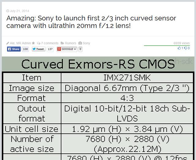 ソニー初の湾曲センサー搭載カメラは、2/3インチで、20mm F/1.2レンズを採用したコンデジ