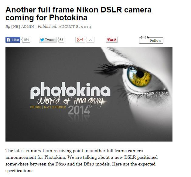 ニコンがフォトキナで「D610」と「D810」の間のフルサイズ機を発表!?もしかして「D710」!?