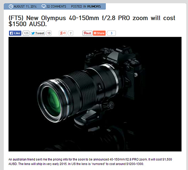 「M.ZUIKO DIGITAL ED 40-150mm F2.8 PRO」の価格は1,500 豪ドル!?