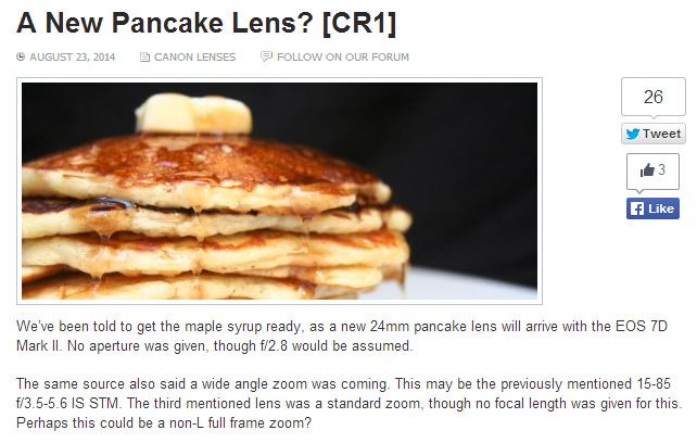 キャノンが24mmF2.8のパンケーキレンズを7D Mark IIと同時発表!?