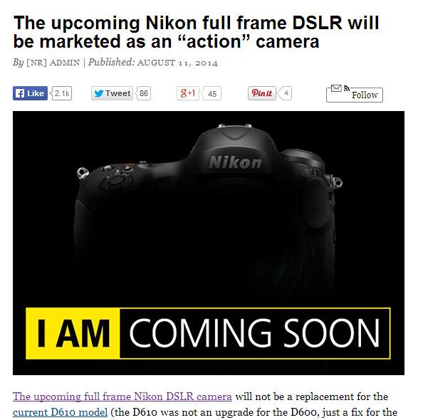 ニコンの新型フルサイズ機は高速撮影に強いカメラ!?D710とも噂されるニコンの新しいフルサイズ一眼レフの噂
