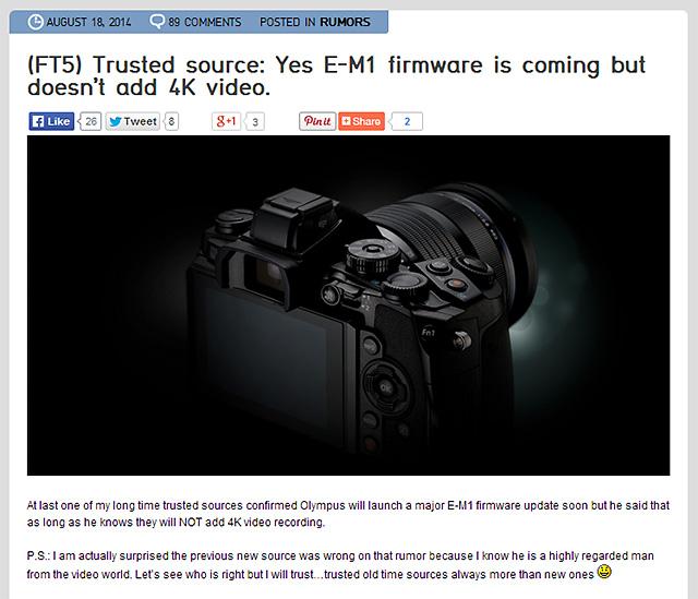 (やっぱり)OM-D E-M1の新ファームウェアは4K動画撮影には対応しない!?