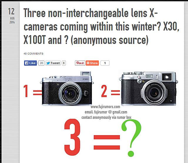 X30、X100Tに続き、3機種目のレンズ固定式Xシリーズが登場!?X70の可能性は!?
