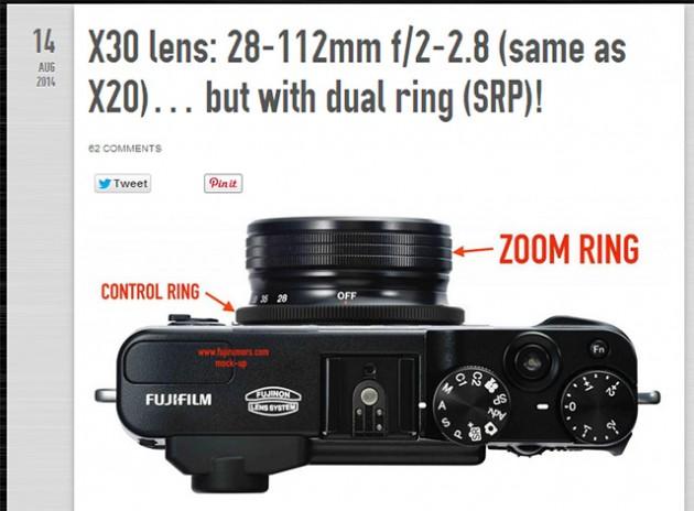 X30はX20と同じ28-112mm F2-2.8のレンズ!?そしてデュアルリング(ズームリング+コントロールリング)を採用する!?