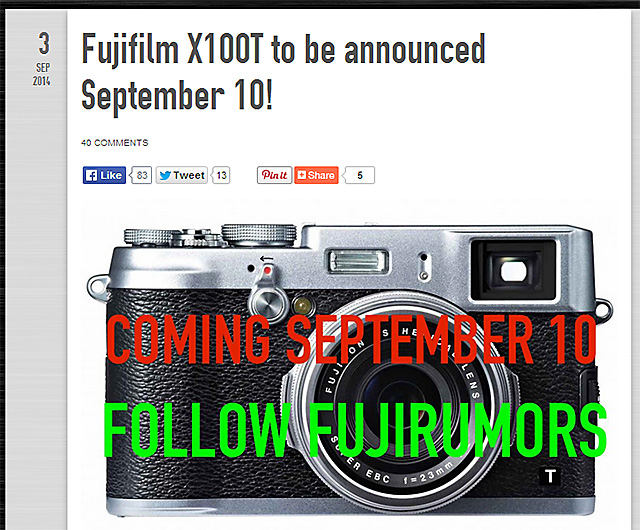 富士フイルム「X100T」9月10日発表!?センサーは16MPセンサー!?