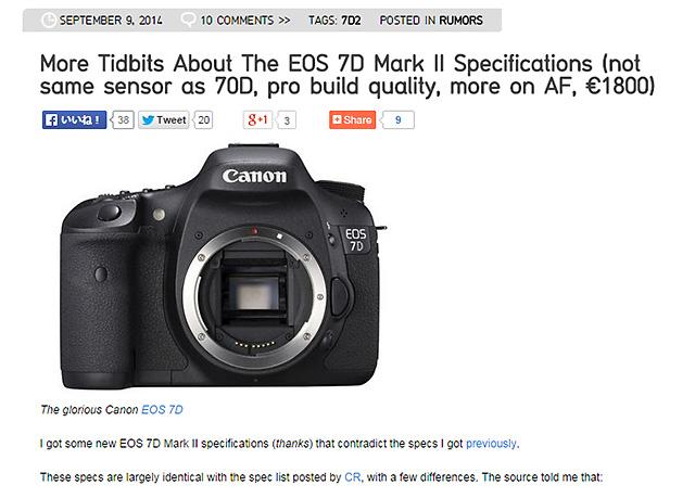 キャノン EOS 7D MarkII の価格は1800ユーロ !?
