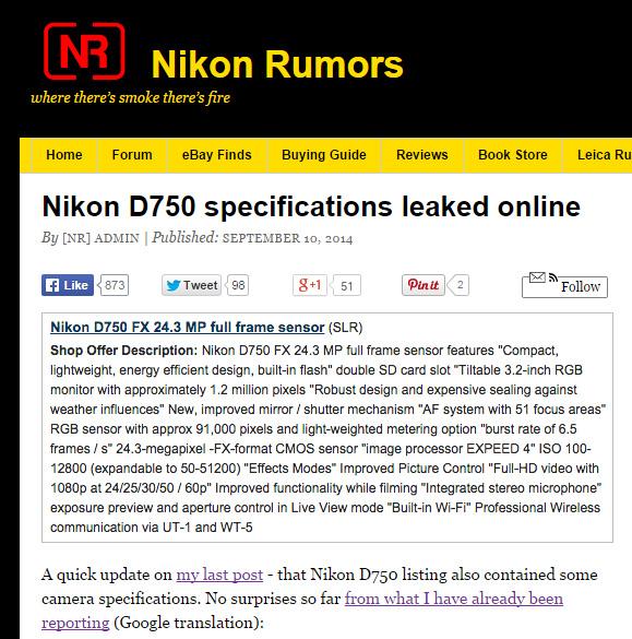 ニコンD750の詳細スペック!?