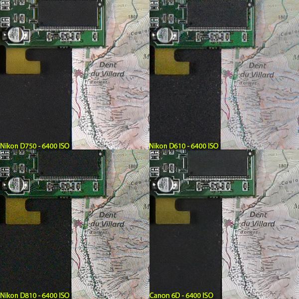 ISO6400での、D750、D610、D810、EOS 6Dの画像比較。