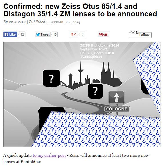 「ZEISS Otus 85/1.4 ZE/ZF.2」と「Distagon 35/1.4 ZM」