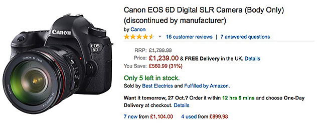 EOS 6DがAmazon UKでディスコンに!?EOS 6D MarkIIが来る!?