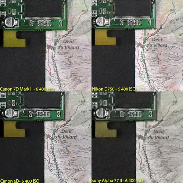 EOS 7D MarkII vs D750 vs EOS 6D vs α77II !!高感度ISO6400対決