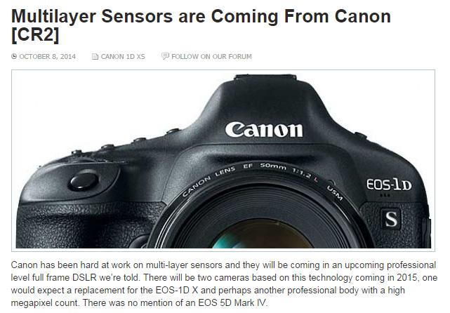 キヤノンが積層型センサーを採用した、EOS-1D X後継機とプロ向け高画素機を開発中!?