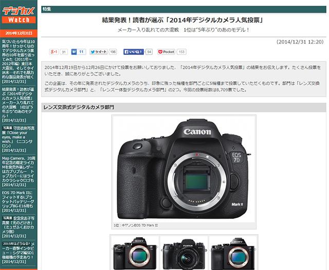 2014年デジタルカメラ人気投票。EOS 7D Mark IIがトップ!レンズ一体型のトップはRX100M3!