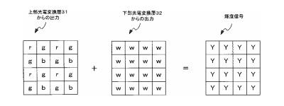 ニコンのRBG配列とW配列を積層した2層センサーの特許。