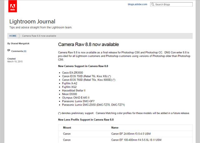 Adobe Camera Raw 8.8 公開。OM-D E-M5 MarkIIやKiss X8、8000Dなどに対応。