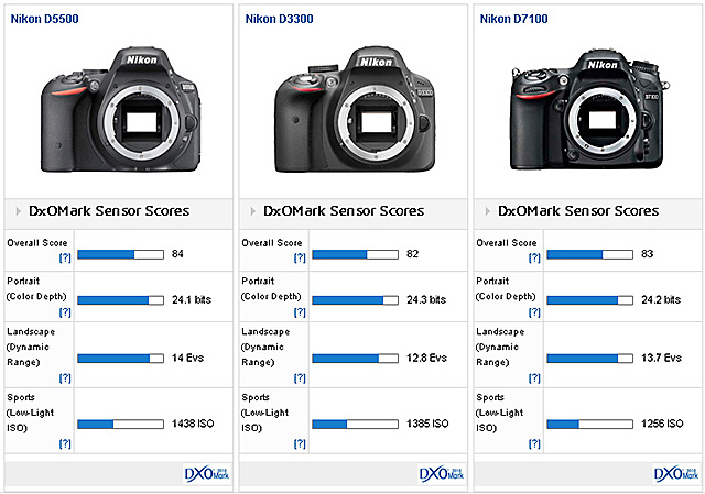 D5500 vs D3300 vs D7100 vs EOS 70D vs α6000!センサー性能対決