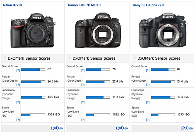 D7200 vs D810 vs D610 vs EOS 7D Mark IIvs D5500 vs α77 II センサー対決!「D7200はAPS-Cのチャンピオン」