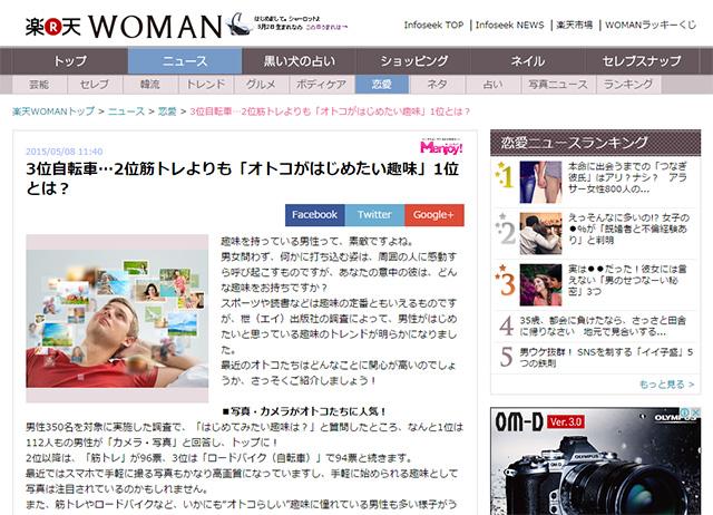 「オトコがはじめたい趣味」No1は「カメラ・写真」の模様。
