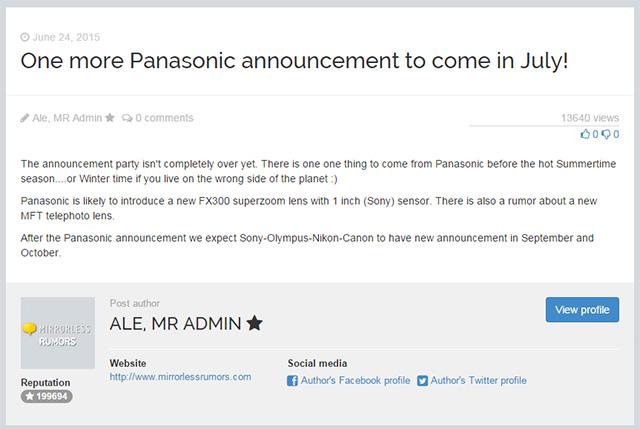 パナソニック FZ300 ソニー製1インチセンサーを搭載する!?