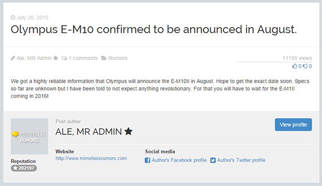 オリンパス OM-D E-M10 Mark II は8月に登場!?E-M1 Mark IIは2016年!?