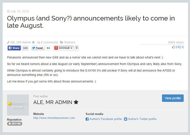 ソニーとオリンパスが8月後半~9月上旬に新製品を発表する!?