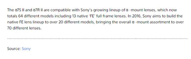 ソニーは2016年にFEレンズを8本以上リリースする模様。