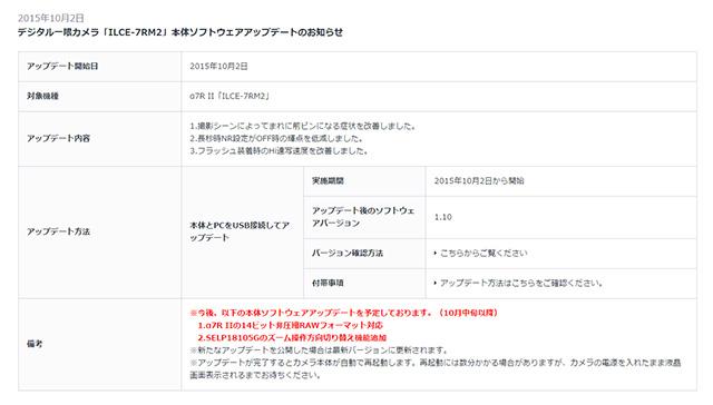 ソニーがα7R IIの「14ビット非圧縮RAWフォーマット対応」アップデートを正式予告