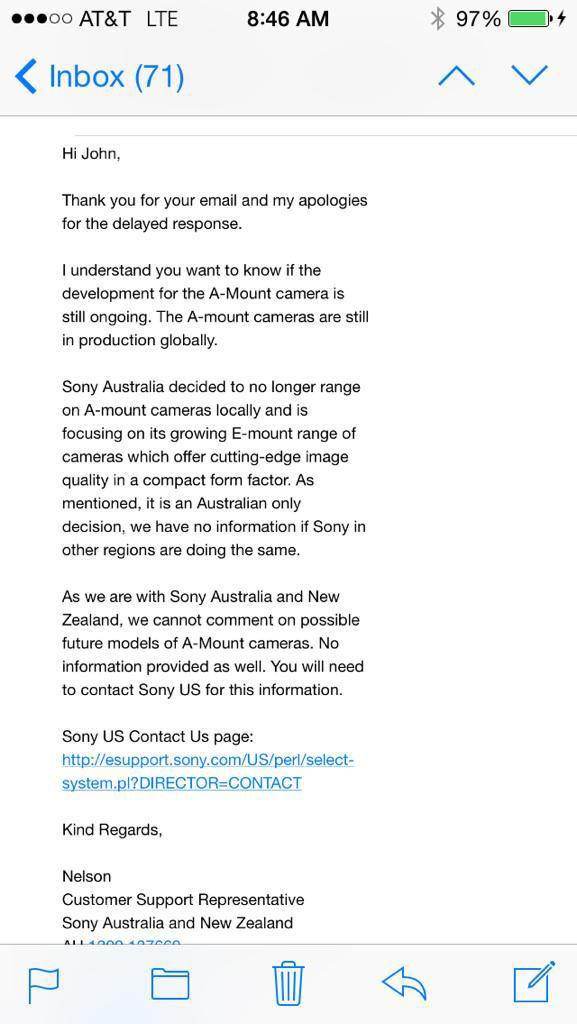ソニーのAマウントは、オーストラリアとニュージーランドでは、もう販売しない模様。