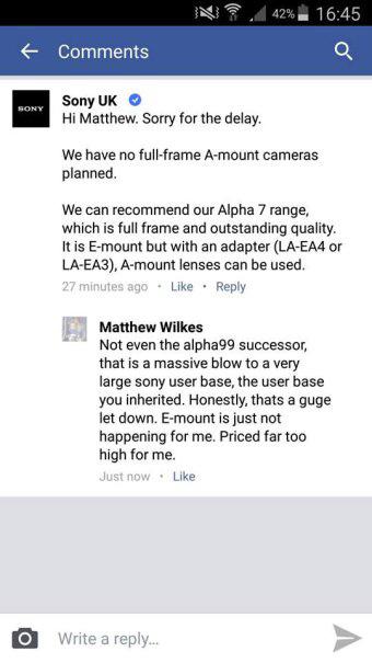 ソニーUKが「フルサイズAマウントカメラの計画は無い」と公式FacebookとTwitterで公言。