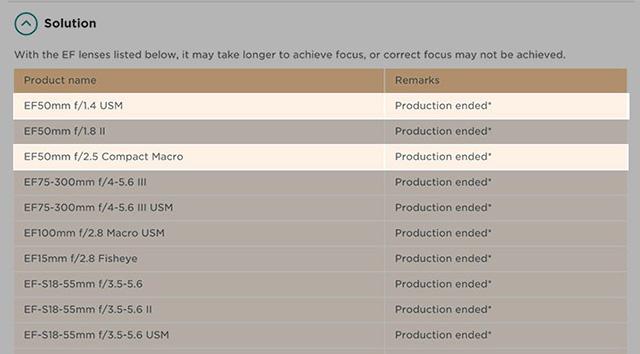 キヤノンUKが、「EF50mm F1.4 USM」と「EF50mm F2.5コンパクトマクロ」を生産終了と掲載している模様。