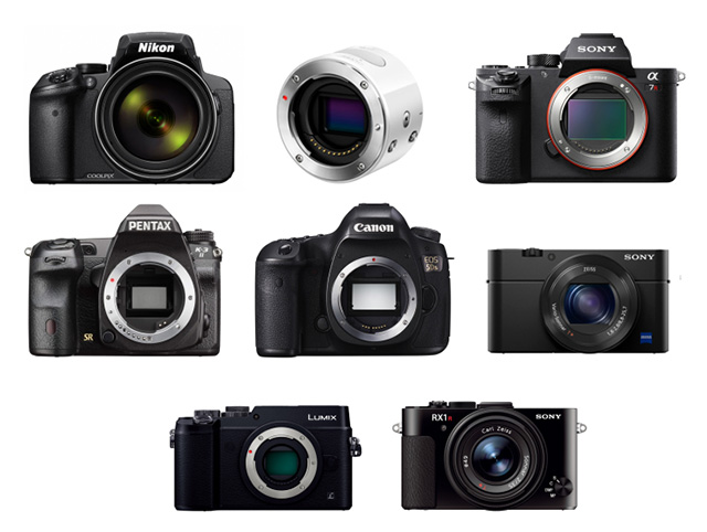 2015年「歴史的カメラ」8機種発表!COOLPIX P900、OLYMPUS AIR A01、K-3II EOS 5Ds、α7R II、LUMIX GX8、RX1R II