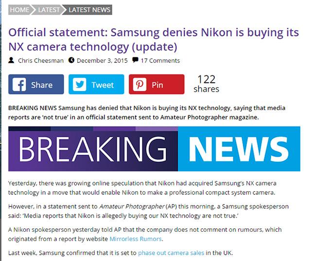 サムスンが公式声明「メディアが報じた、ニコンが我々のNXテクノロジーを買収するという報告は真実ではない」