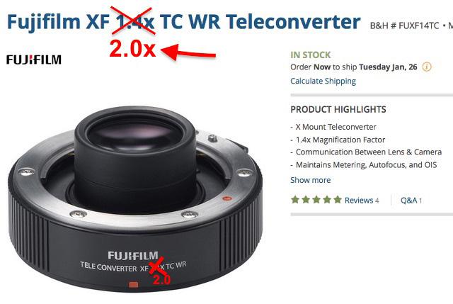 テレコンバーター XF2.0X TC WR