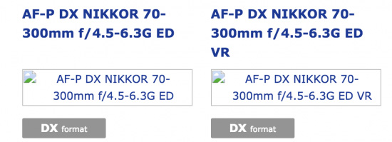 「AF-P DX NIKKOR 70-300mm f/4.5-6.3G ED」と「AF-P DX NIKKOR 70-300mm f/4.5-6.3G ED VR」