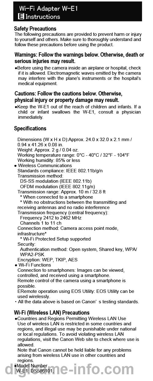 キヤノンのWi-Fiアダプタ「W-E1」