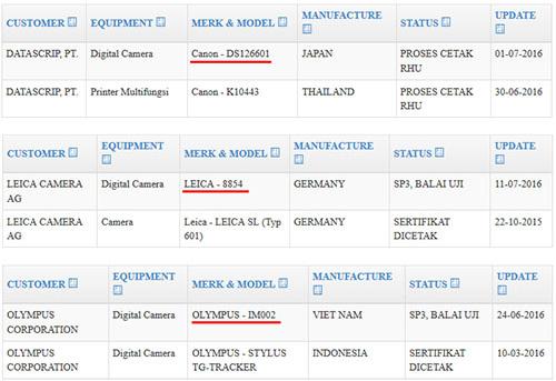 キヤノン新型カメラがインドネシアの認証機関に登録された模様。