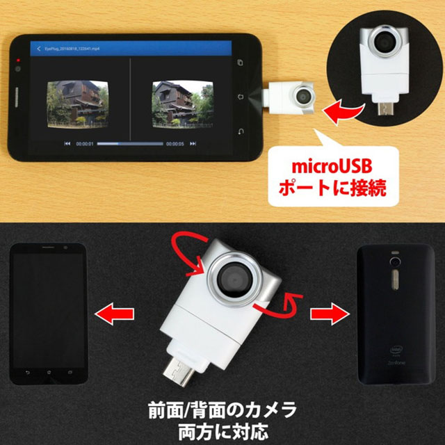 AndroidスマートフォンのmicroUSBポートに直付けするカメラ「Eye-Plug」