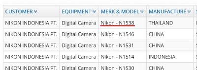 ニコンの未発表一眼レフカメラがインドネシアとロシアの電波認証に登録された模様。