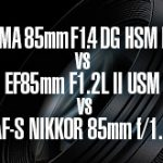 シグマ 85mm F1.4 DG HSM | Art vs キヤノン EF85mm F1.2L II USM  vs ニコン AF-S NIKKOR 85mm f/1.4