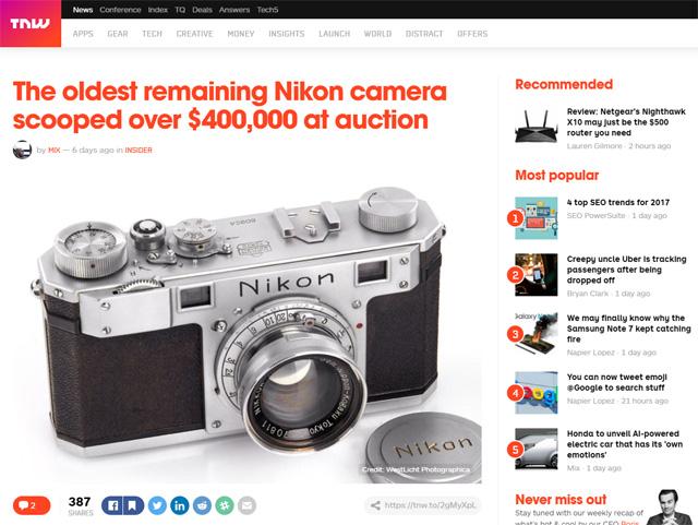 ニコンのカメラがオークションで406,000ドルで落札された模様。