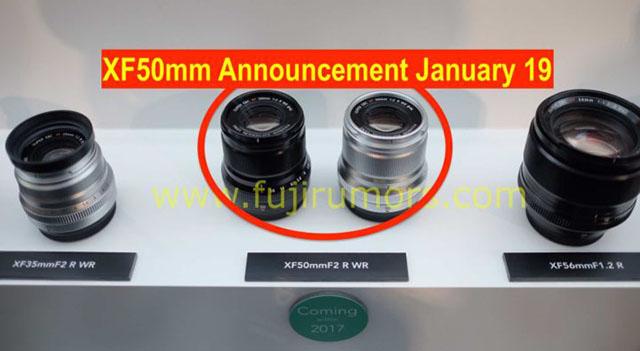 富士フイルムXF50mmF2 R WRは、GFX 50S、X100F、X-T20と一緒に2007年1月19日に発表される!?