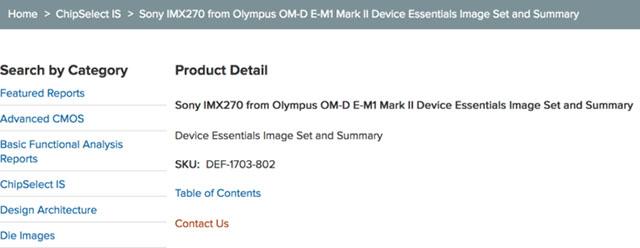 オリンパスOM-D E-M1 Mark IIはソニー製センサー「IMX270」を使用している模様。